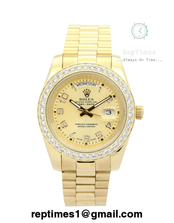 iced out bezel Replica Rolex Day Date yellow gold - RepTimes is the best website to buy the best quality replica fake designer brand swiss movement watches.