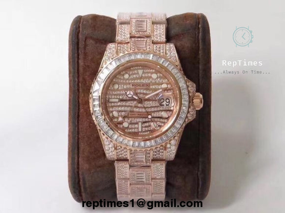 Baguette Diamond iced out Replica Rolex GMT Master Watch (RoseGold) - RepTimes is the best website to buy the best quality replica fake designer brand swiss movement watches.