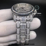 Baguette moissanite Diamond iced out Replica Rolex GMT Master Watch (Silver) - RepTimes is the best website to buy the best quality replica fake designer brand swiss movement watches.