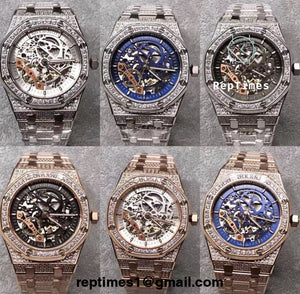 iced out moissanite diamonds Replica AP Audemars Piguet Royal Oak Skeleton - RepTimes is the best website to buy the best quality replica fake designer brand swiss movement watches.