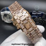 iced out moissanite diamonds Replica Audemars AP Piguet Royal Oak chronograph (Silver, gold or rosegold) - RepTimes is the best website to buy the best quality replica fake designer brand swiss movement watches.