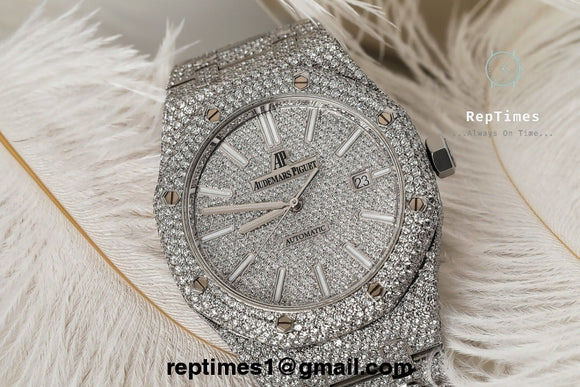 **BACK IN STOCK** iced out moissanite diamonds Replica Audemars AP Piguet Royal Oak **BACK IN STOCK** - RepTimes is the best website to buy the best quality replica fake designer brand swiss movement watches.