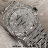 **LIMITED PIECES** iced out moissanite diamonds Replica Audemars Piguet Royal Oak **LIMITED PIECES** - RepTimes is the best website to buy the best quality replica fake designer brand swiss movement watches.