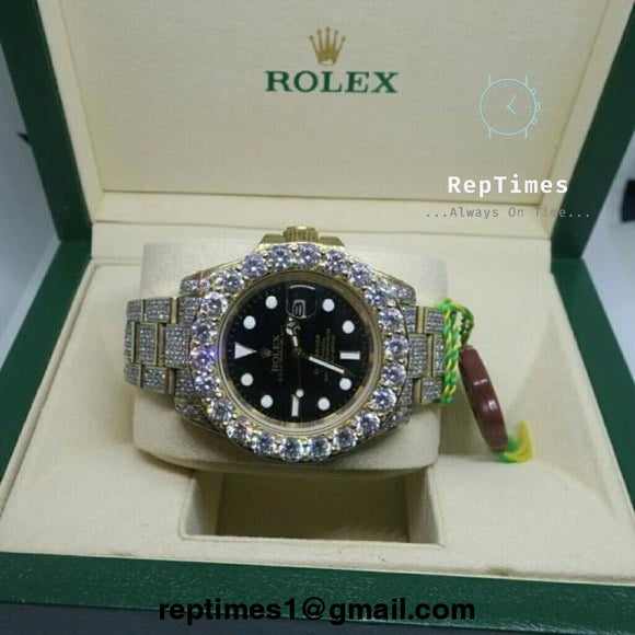 Iced out Moissanite diamonds replica rolex submariner watch bust down - RepTimes is the best website to buy the best quality replica fake designer brand swiss movement watches.