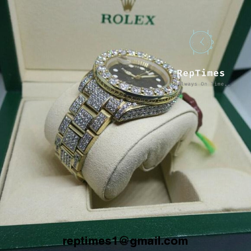 Diamonds Replica Iced Rolex Bust Submariner Down Watch Out Moissanite