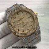 **Limited** iced out moissanite diamonds Replica Audemars AP Piguet Royal Oak Arabic dial - RepTimes is the best website to buy the best quality replica fake designer brand swiss movement watches.
