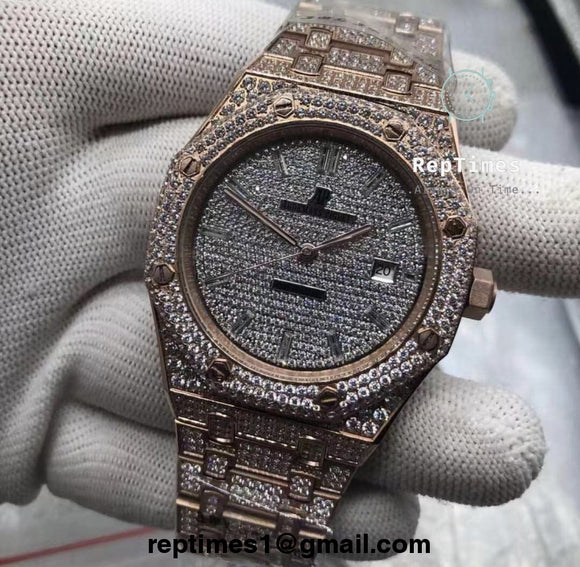 **Limited** iced out moissanite diamonds Replica Audemars AP Piguet Royal Oak (No diamond on side) - RepTimes is the best website to buy the best quality replica fake designer brand swiss movement watches.