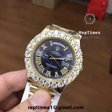 Prongset iced out bezel replica Rolex Mens watch - RepTimes is the best website to buy the best quality replica fake designer brand swiss movement watches.