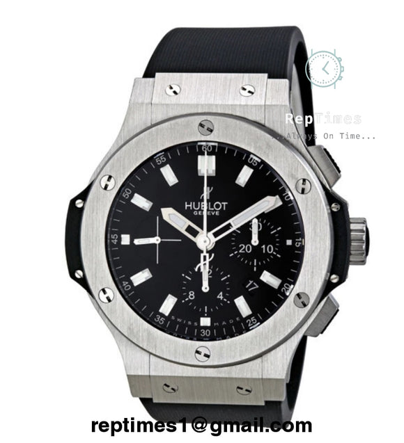 replica Black and silver Hublot Big Bang automatic mens watch - RepTimes is the best website to buy the best quality replica fake designer brand swiss movement watches.