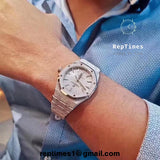 Replica FROSTED Audemars Piguet AP royal oak with Automatic on dial (select style) - RepTimes is the best website to buy the best quality replica fake designer brand swiss movement watches.