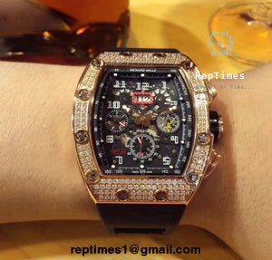 replica high quality Richard Mille 11 Iced Out - RepTimes is the best website to buy the best quality replica fake designer brand swiss movement watches.
