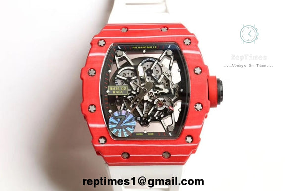 replica high quality Richard Mille RM35-02 plain jane rubber straps - RepTimes is the best website to buy the best quality replica fake designer brand swiss movement watches.