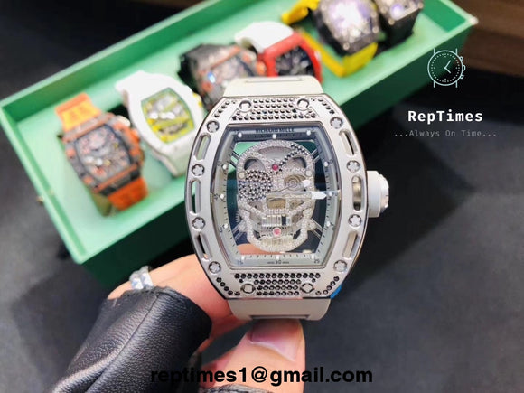 Replica high quality skull dial richard mille rm052 iced out for Replica design
