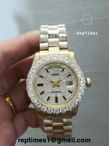 Replica iced out face and bezel replica rolex day date men watch - RepTimes is the best website to buy the best quality replica fake designer brand swiss movement watches.