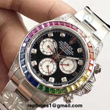 Replica rainbow colored iced bezel Rolex Daytona men watch (Silver or Gold) - RepTimes is the best website to buy the best quality replica fake designer brand swiss movement watches.