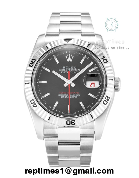 replica rolex date silver bands and black dial with red o-graph marker - RepTimes is the best website to buy the best quality replica fake designer brand swiss movement watches.