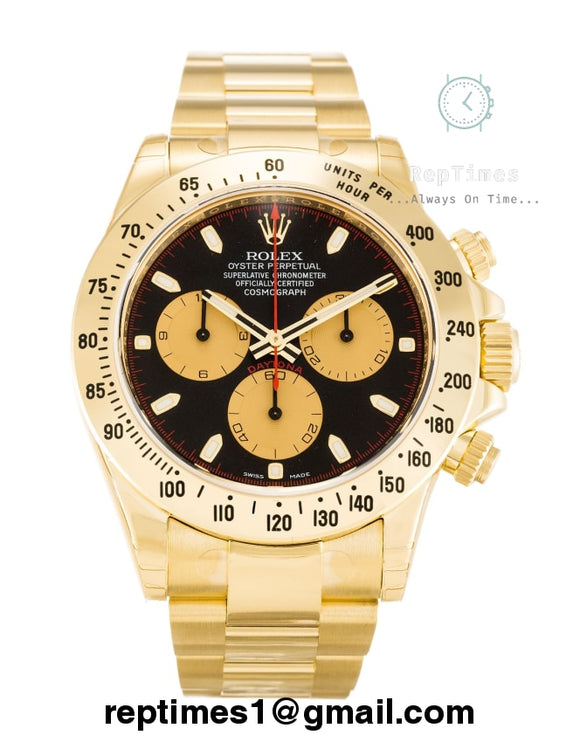 Replica Rolex Daytona men watch gold bands and black dial with gold chronometers - RepTimes is the best website to buy the best quality replica fake designer brand swiss movement watches.