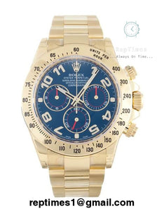 Replica Rolex Daytona men watch in gold and blue dial - RepTimes is the best website to buy the best quality replica fake designer brand swiss movement watches.