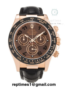 Replica Rolex Daytona men watch with black leather with brown dial - RepTimes is the best website to buy the best quality replica fake designer brand swiss movement watches.