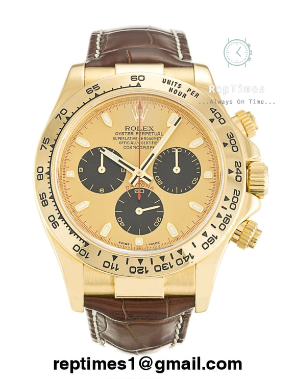 Replica Rolex Daytona men watch with brown leather bands, gold bezel  and gold dial - RepTimes is the best website to buy the best quality replica fake designer brand swiss movement watches.