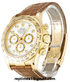 Replica Rolex Daytona men watch with brown leather bands, gold bezel and white dial - RepTimes is the best website to buy the best quality replica fake designer brand swiss movement watches.