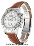 Replica Rolex Daytona men watch with brown leather bands, silver bezel  and white dial - RepTimes is the best website to buy the best quality replica fake designer brand swiss movement watches.