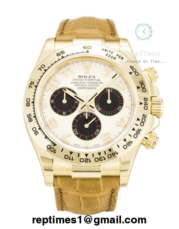 Replica Rolex Daytona with alligator leather bands and gold bezel - RepTimes is the best website to buy the best quality replica fake designer brand swiss movement watches.