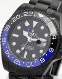 Replica Rolex GMT Master Watch All Black Batman with Blue and black bezel - RepTimes is the best website to buy the best quality replica fake designer brand swiss movement watches.