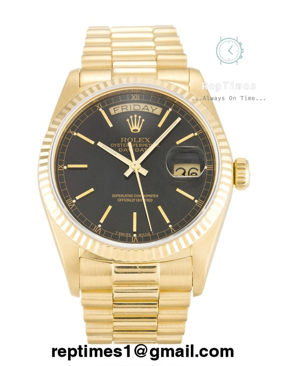 Rolex Replica Day-Date with black dial and gold markers - RepTimes is the best website to buy the best quality replica fake designer brand swiss movement watches.