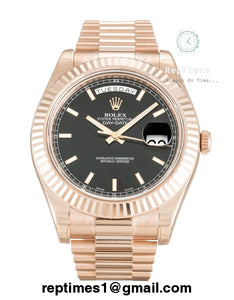 Rolex Replica Day-Date with black dial and gold markers (select from options) - RepTimes is the best website to buy the best quality replica fake designer brand swiss movement watches.