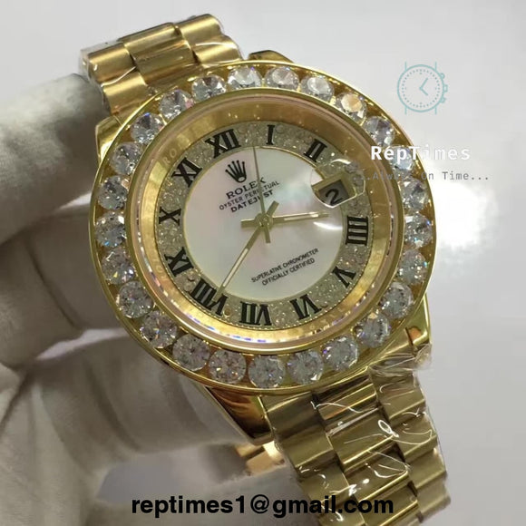 Special Replica Rolex Date Just double iced out bezel and dial or plain white dial - RepTimes is the best website to buy the best quality replica fake designer brand swiss movement watches.