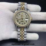 Two tone ICED OUT bust down Replica Rolex DATE JUST 36mm Watch (Arabic Dial) - RepTimes is the best website to buy the best quality replica fake designer brand swiss movement watches.