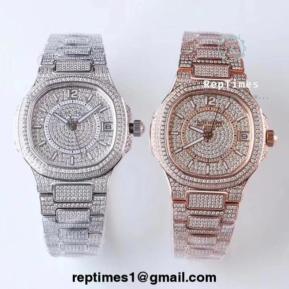 women / ladies replica iced out patek philippe nautilus watch - RepTimes is the best website to buy the best quality replica fake designer brand swiss movement watches.