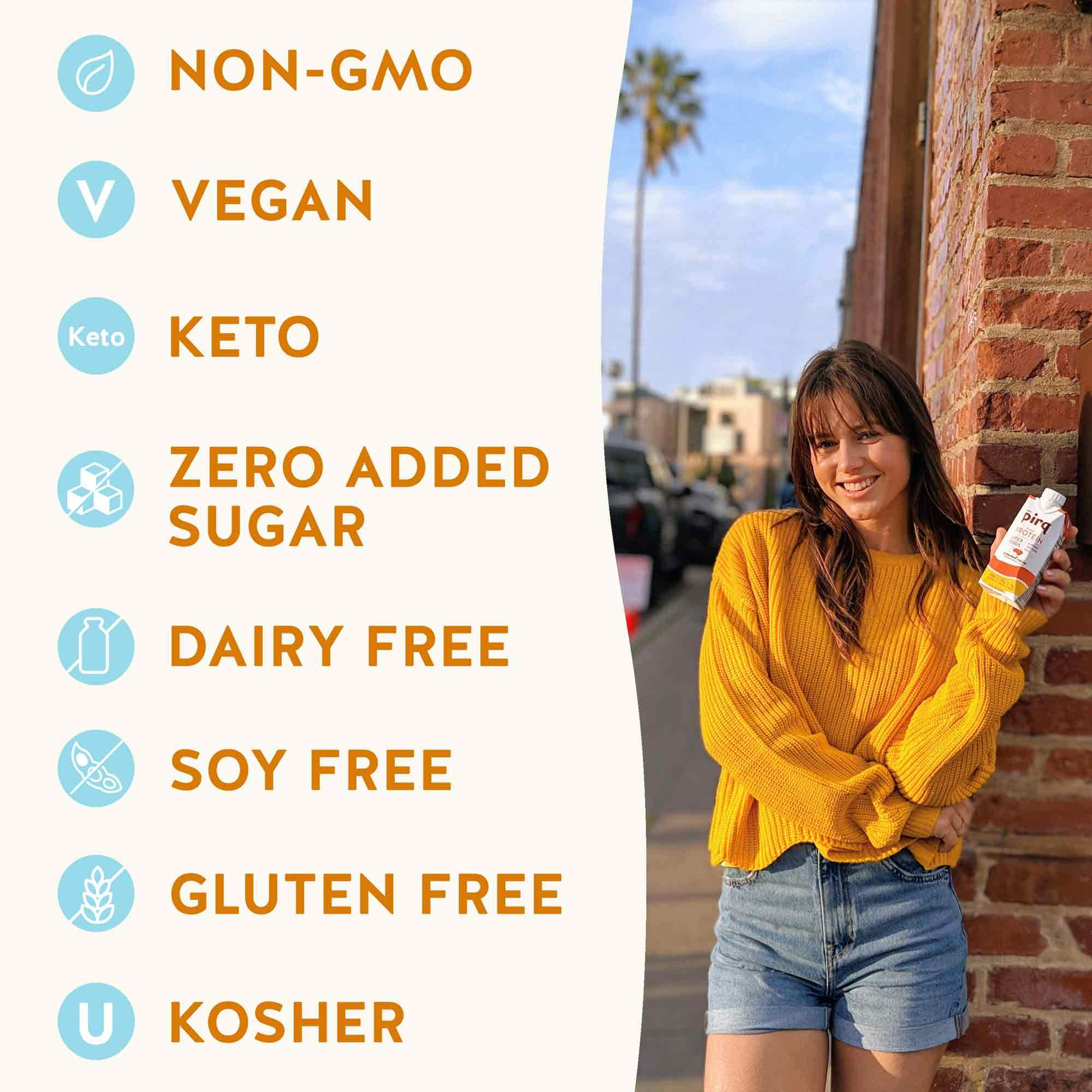 Pirq Snack Replacement Shake Attributes Non-GMO, Vegan, Kosher, Dairy Free, Soy Free, Gluten Free, Zero Added Sugar, Keto