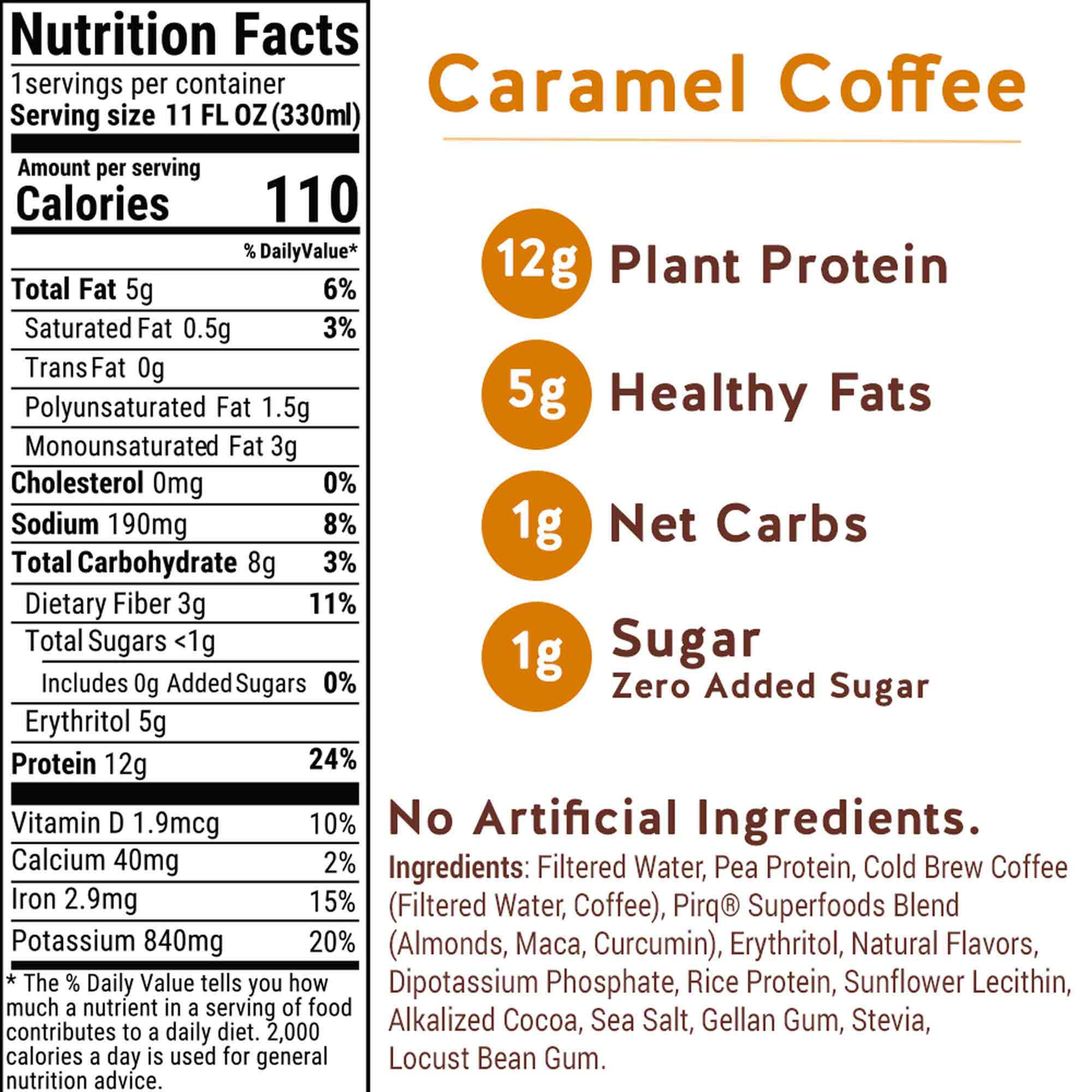 Pirq Caramel Coffee Snack Replacement Shake Nutrition Facts and Ingredients, 110 Calories, 5 Grams Healthy Fats, 12 Grams Plant Protein, 1 Gram Net Carbs, Zero Added Sugar