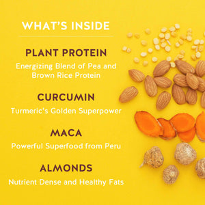 What's Inside Ingredients Pirq Snack Replacement Shake, Plant Protein, Almonds, Superfoods, Curcumin, Maca