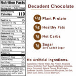 Pirq Decadent Chocolate Snack Replacement Shake Nutrition Facts and Ingredients, 110 Calories, 5 Grams Healthy Fats, 12 Grams Plant Protein, 1 Gram Net Carbs, Zero Added Sugar