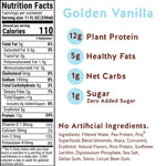 Pirq Golden Vanilla Snack Replacement Shake Nutrition Facts and Ingredients, 110 Calories, 5 Grams Healthy Fats, 12 Grams Plant Protein, 1 Gram Net Carbs, Zero Added Sugar