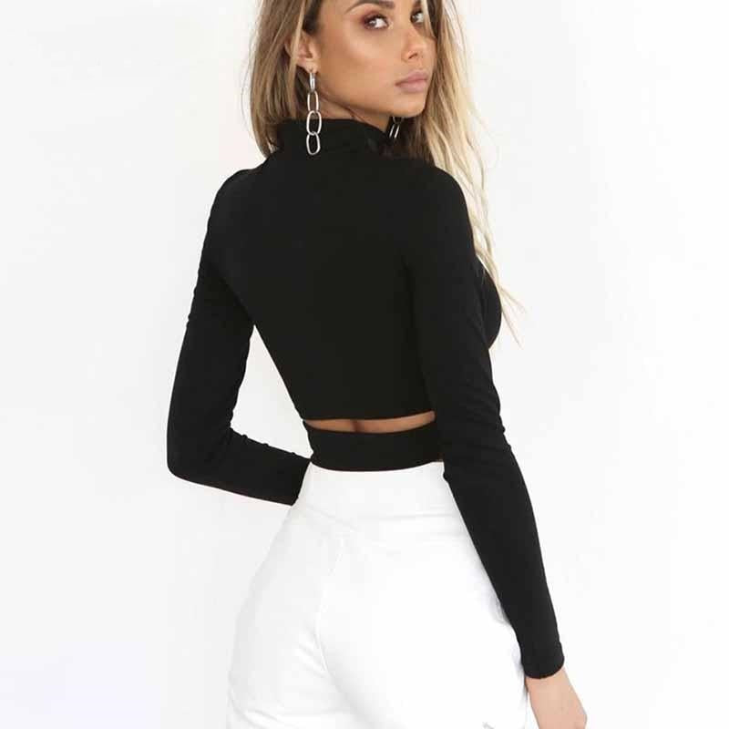 Keep It Basic- Turtleneck Crop Top