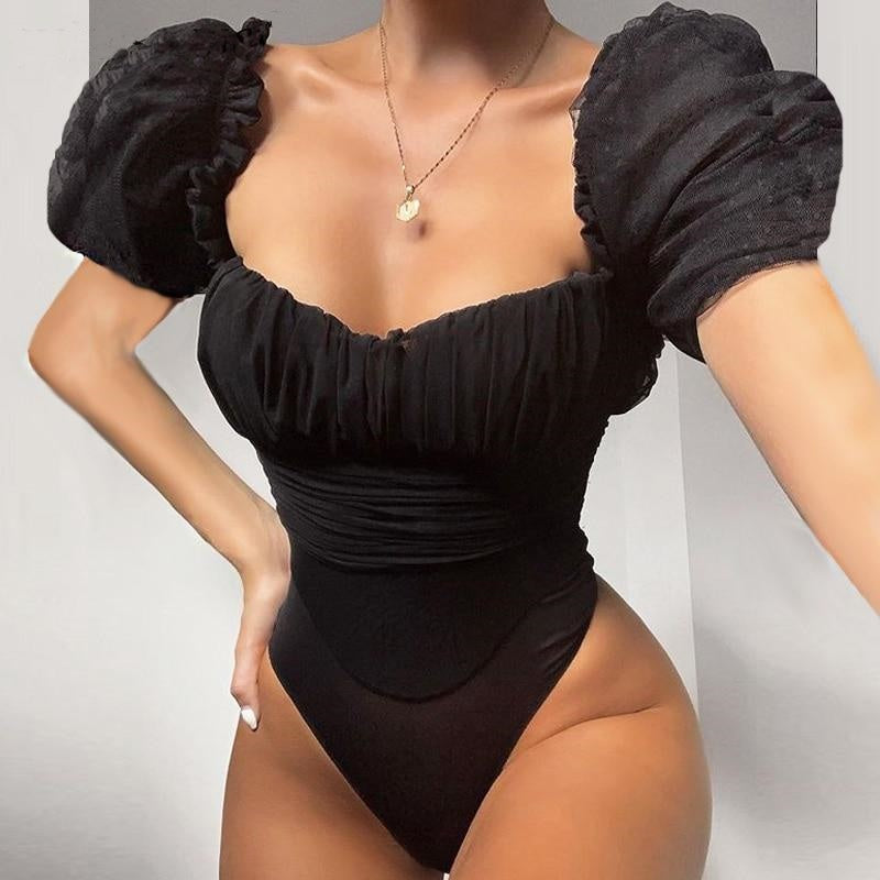 Slay the Night- Puffed Shoulders Bodysuit