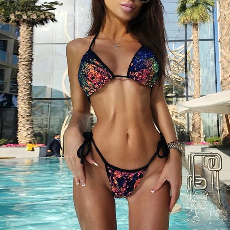 Sexy Sequined Bikini Set