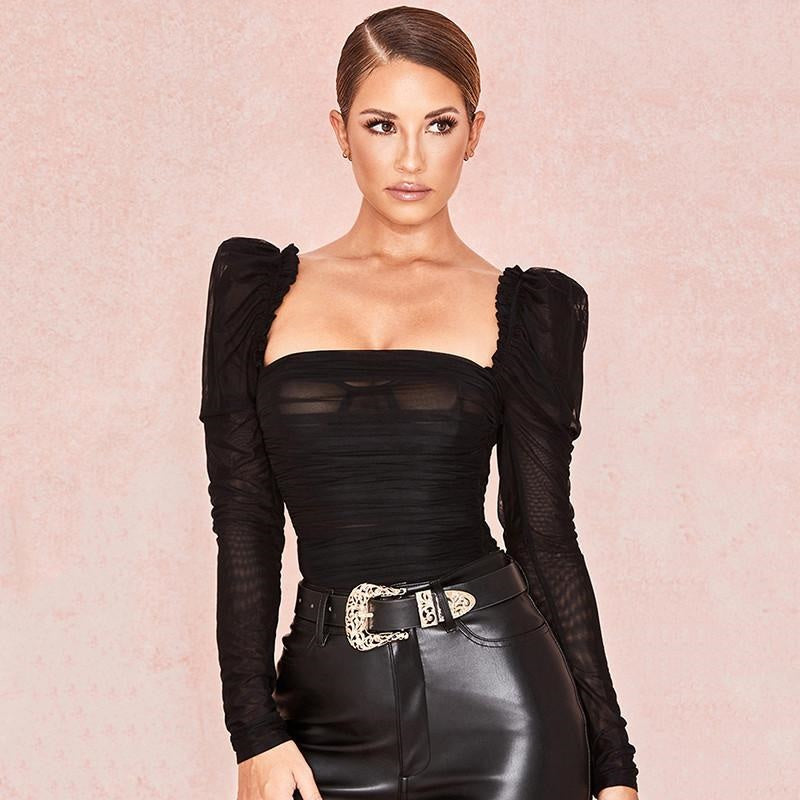 Ria Rules the World- Ruffled Shoulders Bodysuit