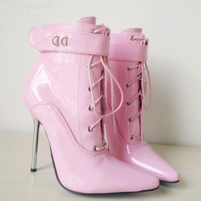 Locked Look- Ankle Strap Lace Up Boots