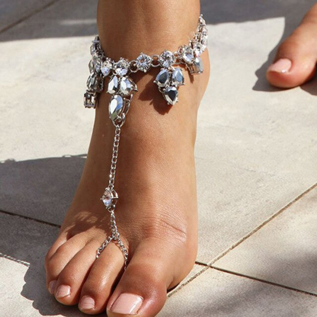 Crystal Wreath Toe-Ring Anklet