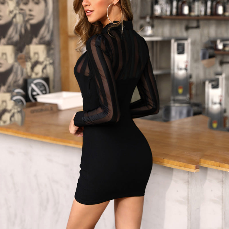 Tahara's Sheer Mesh Mini-Dress
