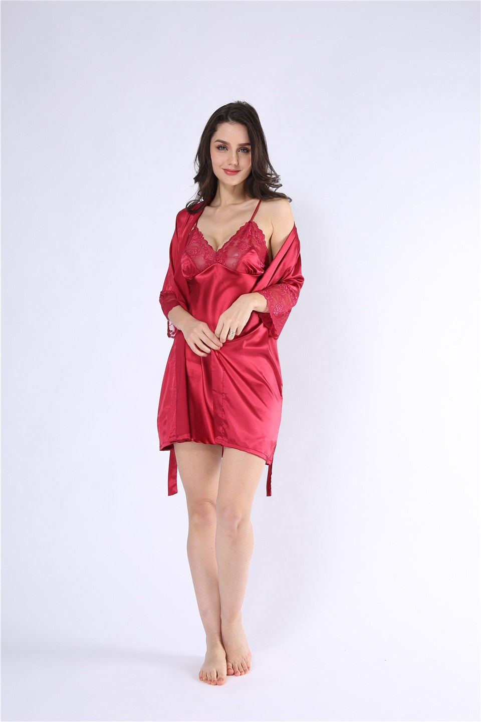 Sheer Bliss- Satin/Lace Robe & Night Gown