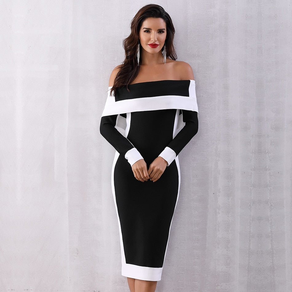 Reigning Duality Off-Shoulder Midi Dress