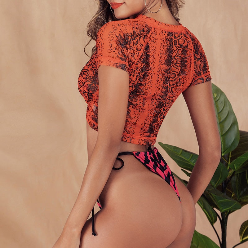 Drool For Me Tiger-Print Thongkini