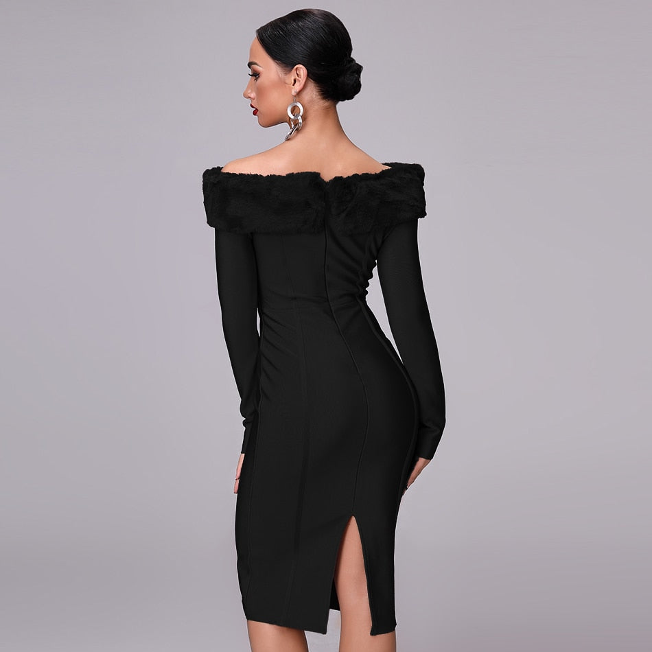 Season Dreams- Bodycon Slash Neck Midi (Black)