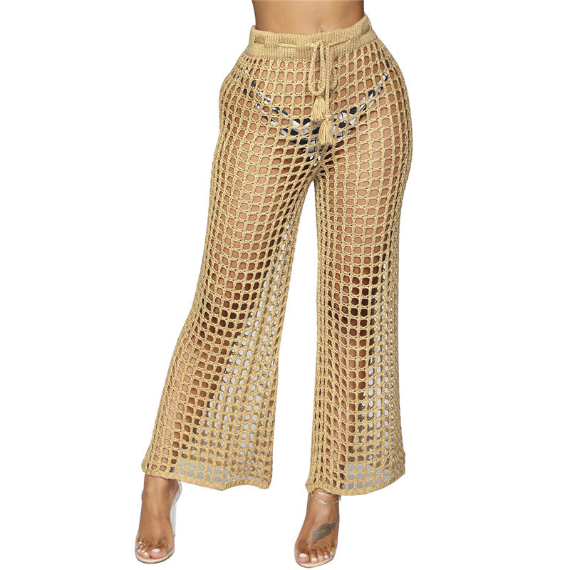 Hidden Secrets- Mesh Khaki Beach Trousers